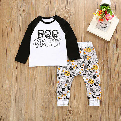 Halloween Kids Baby Boys Girls Outfits Clothes T-shirt Tops +Long Pants 2PCS Set