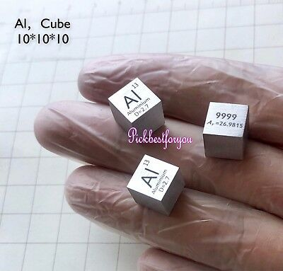 1PC 99.99% pure Aluminum Al metal cube Element Periodic Table 10mm 2.7g #M42A QL