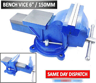"6"" 150mm Durable Jaw Bench Vice Workshop Swivel Base Clamp Cast Iron Well Design"