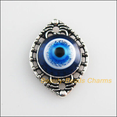 6 New Charms Eye Flower Blue Eye Resin Connectors Tibetan Silver Tone 15x20mm