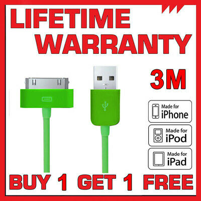 3M Long Genuine Charging Cable Charger Lead for Apple iPhone 4,4S,3GS,iPod,iPad