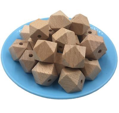 Wood Beech Teething Hexagon Beads Baby Jewelry DIY Chewable Necklace Teether