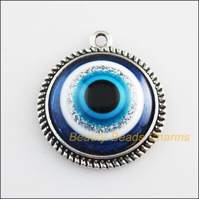 3 New Charms Round Flower Blue Eye Resin Pendants Tibetan Silver Tone 25x28.5mm