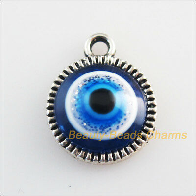 8 New Charms Round Flower Blue Eye Resin Pendants Tibetan Silver Tone 12.5x15mm
