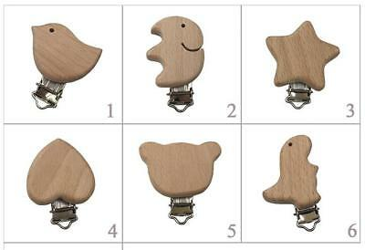Soother Teething Dummy Nipple Holder Wooden Suspender Clips Baby Pacifier Toys
