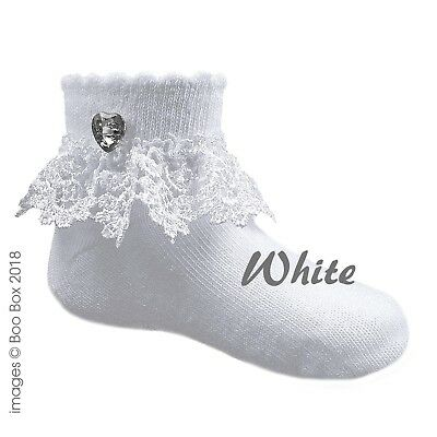 Baby Girls White Frilly Ankle Socks Heart Diamante Sparkle Lace 0-12 Months