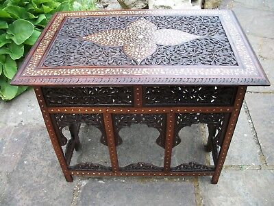 Beautiful  Antique  Folding   Inlaid Anglo/ Indian   Hall/side Table