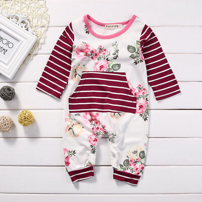 US Newborn Infant Baby GIRL Flower Rose Romper Jumpsuit Bodysuit Clothes Outfits