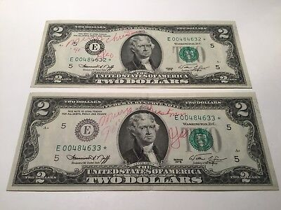 VINTAGE lot 2 CONSECUTIVE 1976 RICHMOND $2 STAR FEDERAL RESERVE NOTES FRN E VNC