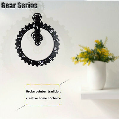 New Retro Modern Large Wall Gear Clock antique Vintage New Silver 1pcs GU09
