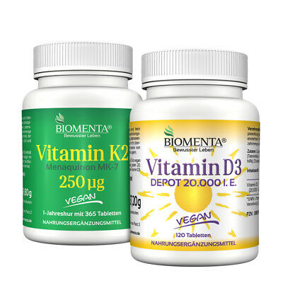 BIOMENTA® VITAMIN K2 D3 SET | Vitamin K2 MK7 + Vitamin D3 Tabletten | VEGAN |