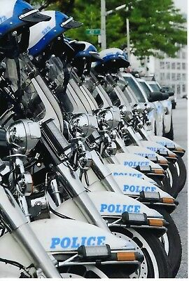 New York City Police Dept Highway Patrol Motorcycle Line-Up 4X6 Color Photo