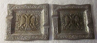Vintage Pair Solid Cast Brass Silver Plate Ashtrays Byzantine Double-Headed Eagl