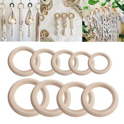 20pcs Natural Wooden Rings Beads Connectors DIY Jewelry Accessories Circle Shape