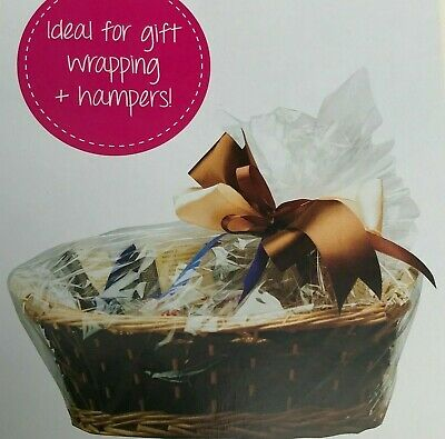 6 x CLEAR HAMPER BASKET Gift Cake CELLOPHANE DISPLAY BAG With Tie CHRISTMAS