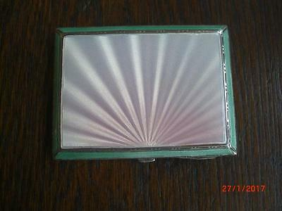 Hallmarked Solid Silver Art Deco Compact With Sunburst Guilloche Enamel 1937