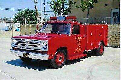 Los Angeles County Fire Dept Squad 51 1972 Dodge D-300 4X6 Color Photo ~ Tv Star