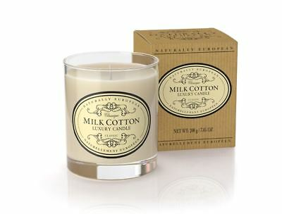 Naturally European Milk Cotton Scented Luxury Candle 200g 40 Hours Burn