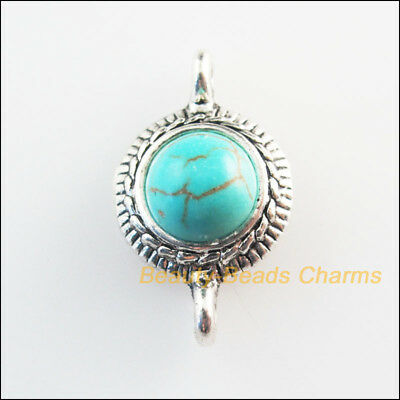 3 New Retro Charms Tibetan Silver Tone Turquoise Round Flower Connectors 13x22mm