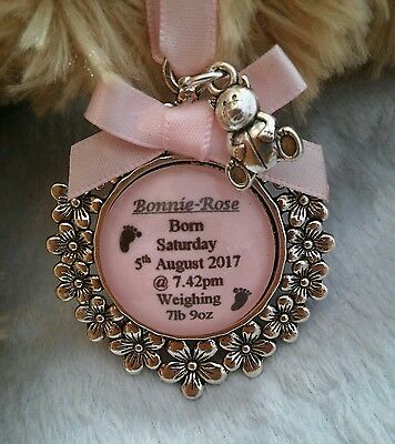 Newborn New Baby Girl Personalised Memory Birth Christening Baptism Teddy Charm