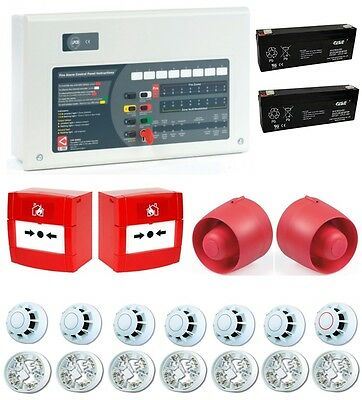 C-TEC 8 Zone Conventional Fire Alarm Kit 7 Detectors 2 Call Points 2 Sounders