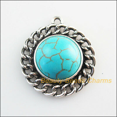 2 New Retro Charms Tibetan Silver Tone Turquoise Round Flower Pendants 28x31mm