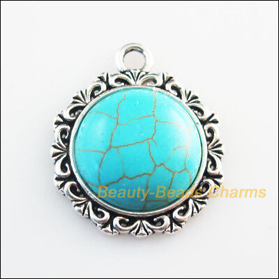 3 New Charms Round Flower Turquoise Tibetan Silver Tone Pendants 25x30mm