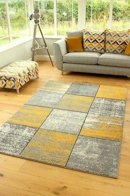 New Modern Mustard Ochre Good Quality Small Large Floor Carpets Rugs Runners