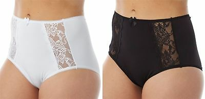 Marlon Black White Women/'s soft Lace high leg Brief Pants Knickers 1-3 Pack