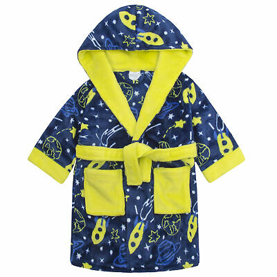 Boys Space Print Dressing Gown Robe Soft Plush Fleece Hooded Fluffy Colourful