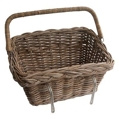Grey Rattan Wicker Bicycle Basket, with Fold-down Handle Bike Shopping