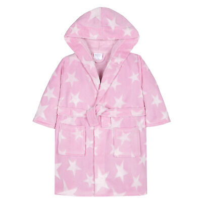 Girls Star Print Dressing Gown Robe Soft Plush Fleece Hooded Fluffy Warm Pockets