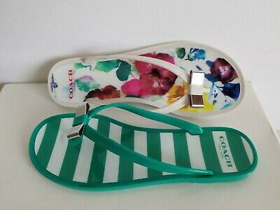 e653fa13959d8 Coach Landon Iconic Logo Pvc Jelly Bow Thongs Flip Flops Summer I Love Shoes