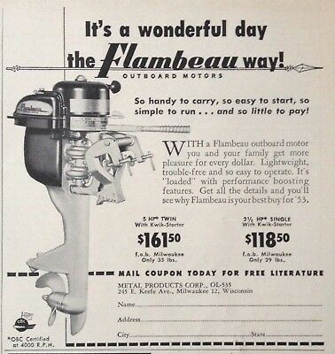 1953 Ad(Odl31)~Metal Products Corp. Milw., Wisc. Flambeau Outboard Motor