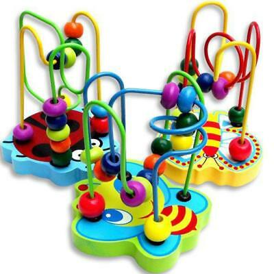Children Kids Baby Colorful Wooden Mini Around Beads Maze Educational Game Toy F