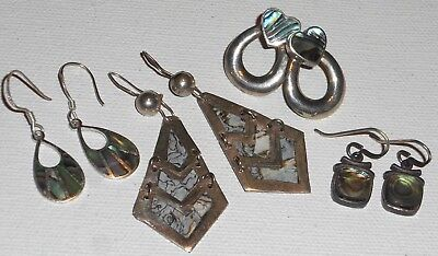 4 Pc Vintage Sterling Silver Abalone Earring Lot Ethnic Tribal Native