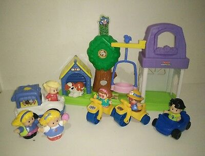 Fisher Price Little People Kids Girls in the Park Ice Cream Truck Playground Dog
