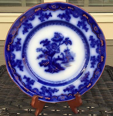 "Fantastic Flow Blue Chusan 10"" Dinner Plate w Rust Red Trim"