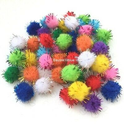 GLITTER Pom Poms 10 Various Mixed Colours 15mm Chenille Quality Valentine Craft