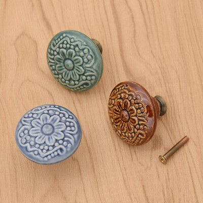Vintage Flower Pull Handle Door Knobs Ceramic Cabinet Cupboard Wardrobe Drawer