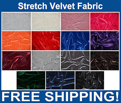 """Stretch Velvet Fabric - 60"""" Wide - 15 Colors To Choose  - Free Shipping!!"""