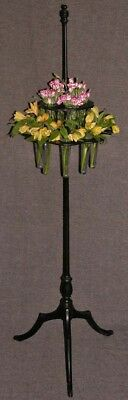 Antique Victorian Ebony Wood Floor Epergne 2 Tier 12 Glass Vase Flower Stand 58""