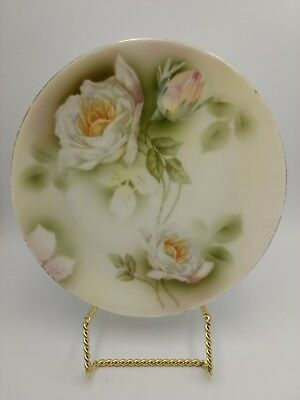 ES Prussia PROV SAXE Germany PORCELAIN PLATE - PINK AND WHITE ROSES 8 1/2 Inch