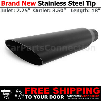 Exhaust Tip 214251 Stainless Truck Angle Black 13 inch Bolt-On 2.5 In 3.5 Out