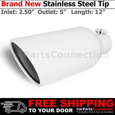 Universal Stainless Truck Angled Black 12 inch Bolt-On Exhaust Tip 3 In 5 Out