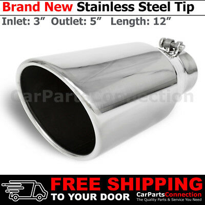Stainless Truck Angled Polished 15 inch Bolt On Exhaust Tip 4 In 6 Out 202499
