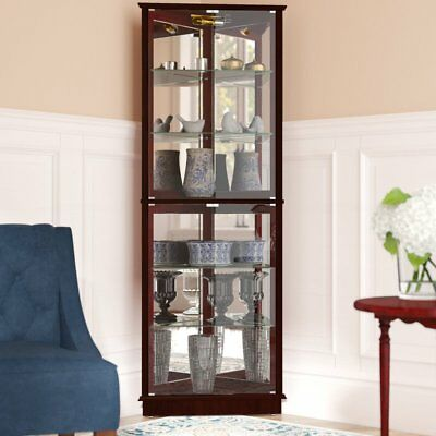 Lighted Curio Cabinet Corner Tall Storage Tower Mirrored Glass Display Case