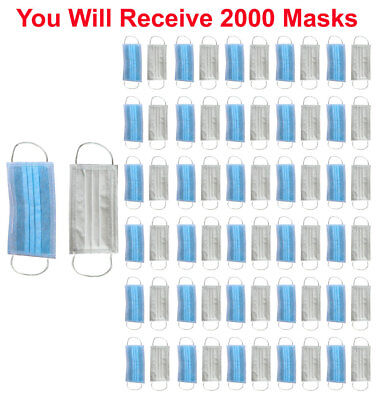 2000x Disposable Face Mask 3-Ply SOFT Earloop Medical Surgical Dental Allergy