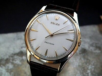 Beautiful 1956 Oversize 35mm Solid 9ct Gold Rolex Precision Gents Vintage Watch