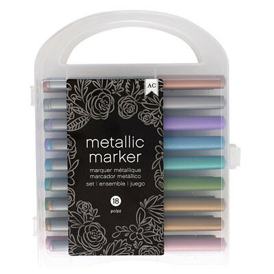 American Crafts Metallic Markers Value Pack - Fast-Drying Ink - Pack of 18